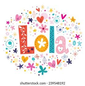 Lola female name decorative lettering type design