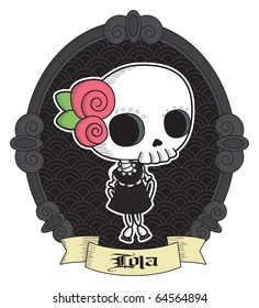 Lola. Little Lady Grimm. Cool Gothic vector style / Graphic elements.