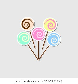 Lolipop icon isolated on background. Bright caramel. Sweet candy. Childhood concept. Vector flat gesign