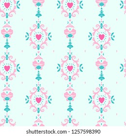 lolita fashion seamless girlish pattern with rococo style curls and hearts
