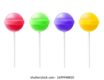 Lollipop candies on stick in various colors set, realistic vector mockup illustration isolated on white background. Rounded caramel sweets template collection.