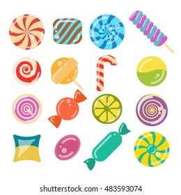 lollipop candies set. flat style vector illustration of 16 sweets on white background. for game, postcard, invitation and web design