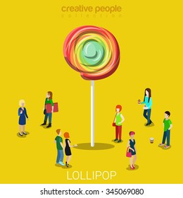Lollipop lure flat 3d isometry isometric marketing concept web vector illustration. Creative people collection.