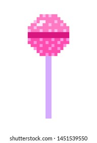 Lollipop Pixel art 8 bit object. Pink fashion digital game. Pastel icons girly sticker. Vintage assets.