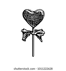 Lollipop Sketch. Heart Shaped Candy On Stick Vintage Style Icon Isolated On White Background. Black Hand Drawn Engraving Sweet With Bow Vector Illustration.