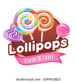 Lollipops candies colorful poster. Badge with assorted sweets - round and heart shaped lollipops on stick.