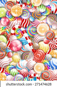 Lollipops. candies and sweets, bright colorful vector  background