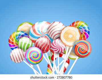 Lollipops. candies and sweets on a blue background, vector illustration