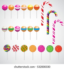Lollipops collection isolated on white background.Candy on stick with twisted design.Colorful sweets icons set - candy cane marshmallow spiral  swirl lollipop, round lollipop.Vector illustration.