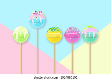 Lollipops on pastel background in flat style design. Fashion trendy background with candy, minimalism concept. Cake pops vector illustration for a poster, cards, background.