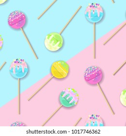 Lollipops pattern design on pastel background in flat style. Fashion trendy background with candy, minimalism concept. Cake pops vector illustration for a poster, cards, background.