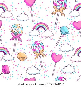 Lollipops, rainbow, clouds and confetti. Sweet candies seamless vector pattern.