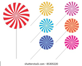 Lollipops - sweets candy set - vector illustration