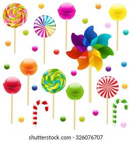 Lollypop Big Set With Pinwheel With Gradient Mesh, Vector Illustration