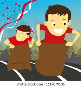 Lomba Balap Karung 17 agustus - translate: Sack Race Competition on 17th August - Indonesian Independence Day