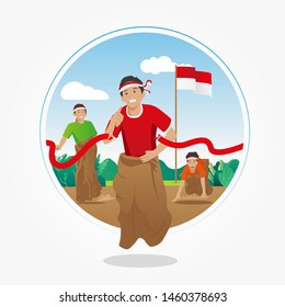 Lomba Balap Karung 17 agustus - translate Sack Race Competition on 17th August - Indonesian Independence Day