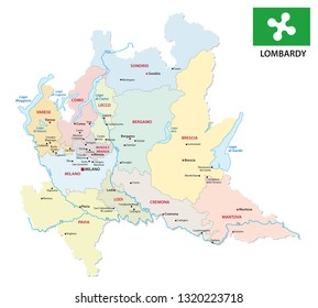lombardy administrative and political map with flag