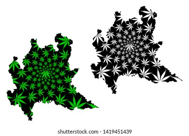 Lombardy (Autonomous region of Italy, Italian Republic) map is designed cannabis leaf green and black, Lombardy map made of marijuana (marihuana,THC) foliage,