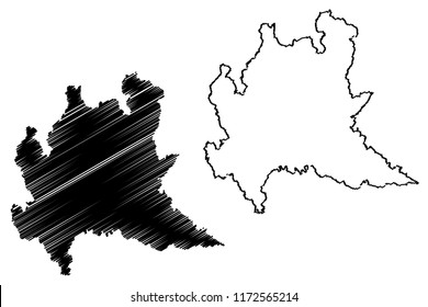 Lombardy (Autonomous region of Italy) map vector illustration, scribble sketch Lombardy map