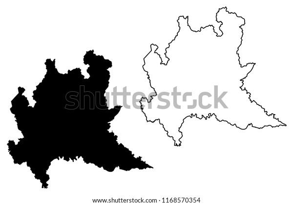 Image Vectorielle De Stock De Lombardie Region Autonome D Italie Carte Illustration 1168570354