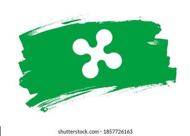 The Lombardy region flag, Italy. Italian  region   banner brush concept. Horizontal vector Illustration isolated on white background.