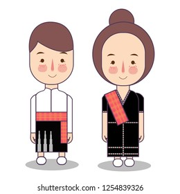 Lombok island in West Nusa Tenggara province wedding Couple, cute Indonesian traditional clothes costume bride and groom cartoon vector illustration flat