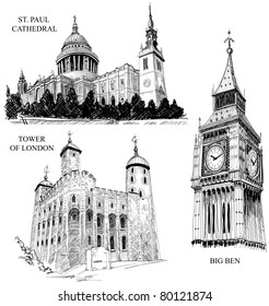 London architectural symbols: St. Paul Cathedral, Big Ben and Tower of London (pencil drawings)