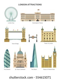 London architecture. Vector collection of London attractions, such as London Eye, Tower of London, The Shard, Buckingham Palace, Tower Bridge. Isolated on white.