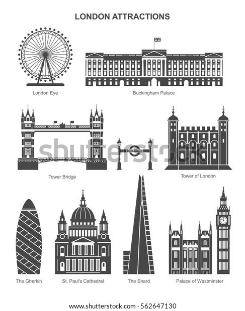 London architecture. Vector collection of London attractions black icons, such as London Eye, Tower of London, The Shard, Buckingham Palace, Tower Bridge. Isolated on white.