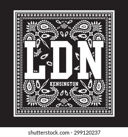 London bandana typography, t-shirt graphics, vectors