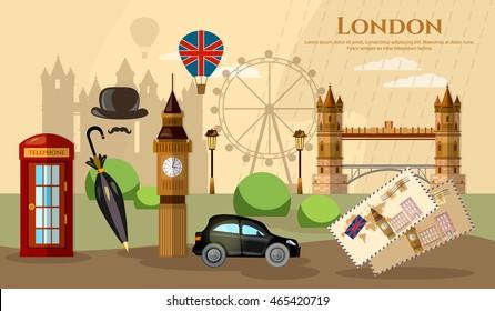 London banner capital of Great Britain United Kingdom vector illustration