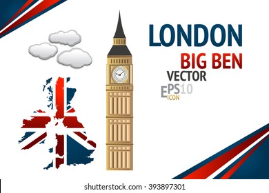 London Big Ben vector illustration with Great Britain map red and blue ribbon isolated on the white background