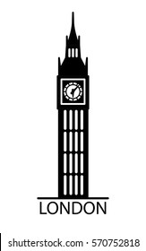 London Big Ben watchtower thin line linear flat illustration