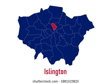 London Borough of  Islington map. The map is colored with the colours of the United Kingdom flag. The vector map is appropriate for prints of all sizes. An isolated map on white background.