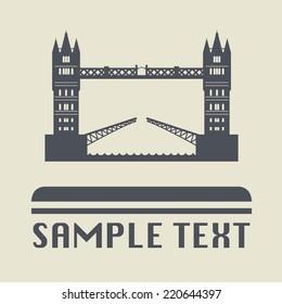 London bridge icon or sign, vector illustration