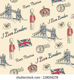 London Bridge & London icons seamless pattern
