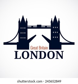 London Bridge Logo. Attraction of the capital of England. Vector illustration