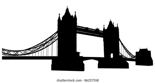 London Bridge Tower Landmark Silhouette. Elegant Very Smooth and High Detail Vector illustration.