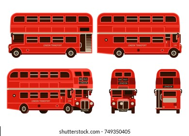 London bus double decker transportation set in flat style