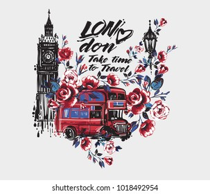 London bus with flowers, vintage lantern, roses, Big Ben. Watercolor London vector illustration collection. Retro british grunge graphic for textile design or t-shirt print on white background