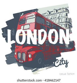 London bus vecrot print  for t-shirt and another uses