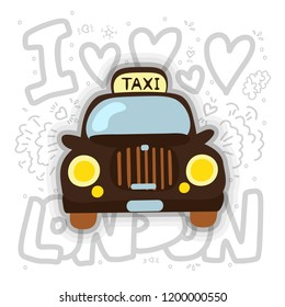 London cab - taxi vector illustration. London taxi cartoon design with decoration elements. London cab and taxi fun icon isolated