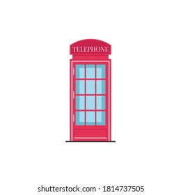 London call booth, callbox vector illustration, call booth flat icon