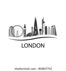 London is the capital of England. London Silhouette of houses. London attractions of the city. Business district, Eye, Big Ben London.