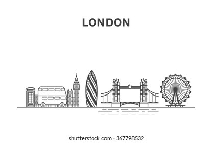 London city with big ben building, a bus, tower bridge, London eye and a telephone box illustration made in line art style.