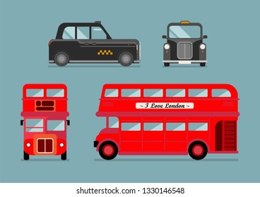 London city bus and cab set. Front and Side view. Vector illustration