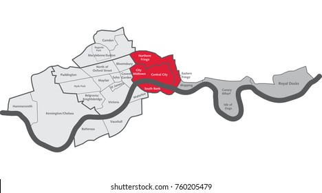 London City Centre Map With Area Labels