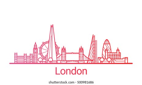 London city colored gradient line. All London buildings - customizable objects with opacity mask, so you can simple change composition and background fill. Line art.