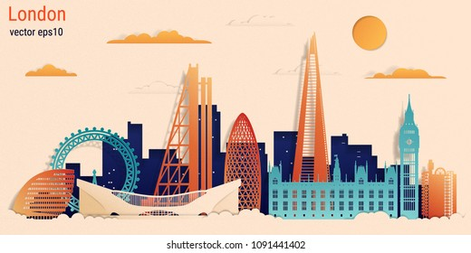 London city colorful paper cut style, vector stock illustration. Cityscape with all famous buildings. Skyline London city composition for design