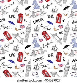 London city doodles elements seamless pattern. with hand drawn tower bridge, crown, big ben, red bus, UK map, flag,and lettering, vector illustration isolated.